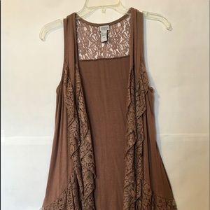 Ladie's Mocha Lace Long Sleeveless Vest-Size Med